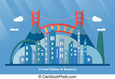 USA landmarks for travelling with urban city, golden gate and mountain. Vector illustration with copy space and flare of light on blue background.