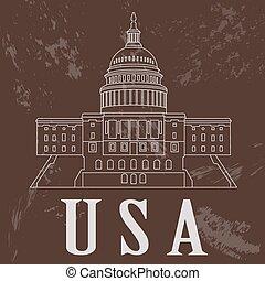 USA landmarks. Retro styled image.