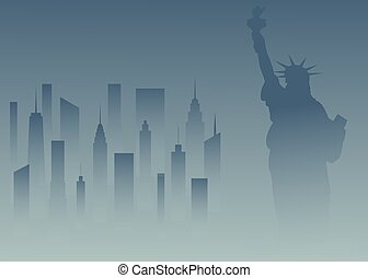 USA-Lberty1-02 - Statue of Liberty and the cityscape in New...