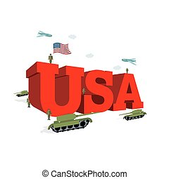 USA letters 3D. Patriotic artwork military in America. Soldiers welcomed give honor. Paper impregnated and soldiers. Planes fly over army. Volumetric letters. Flag of USA. Flag of America