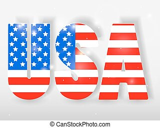 USA letters with flag background. Vector illustration.