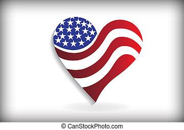 usa lobogó, alatt, egy, szív alakzat, jel, azonosító jegy, ügy