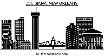 Usa, Louisiana, New Orleans architecture vector city skyline, travel cityscape with landmarks, buildings, isolated sights on background