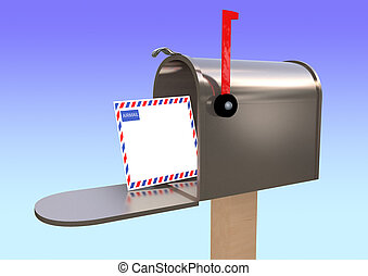 USA mail box with airmail letter