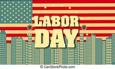 usa, main-d'œuvre, drapeau, cityscape, jour, carte