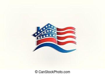 usa, maison, drapeau ondulant, conception, logo