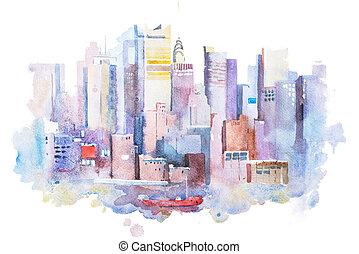 usa., manhattan, aquarela, york, novo, desenho, quadro, ...