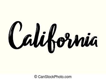 usa, manuscrit, calligraphie, californie, state., nom