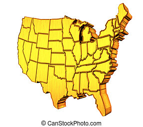 USA map 3D gold with states