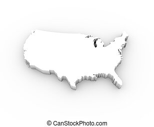 USA map 3D white with clipping path