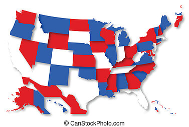 USA Map - 4th of July Theme Vector - Drawing Art of Nation...