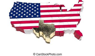 usa, map., 57, polityczny, stan, texas.