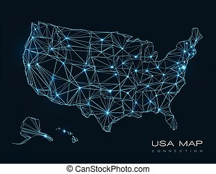 USA map abstract technology background - vector