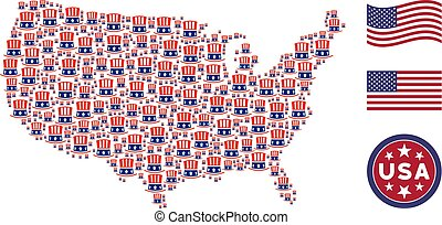 USA Map Collage of Uncle Sam Hat