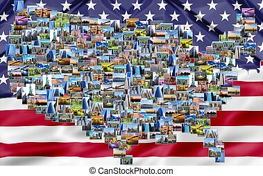 USA map collage with flag - USA map pictures collage of...