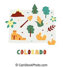 USA map collection. State symbols on gray state silhouette - Colorado