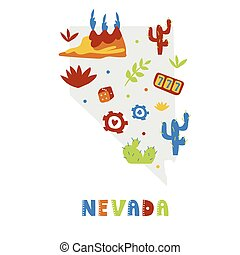 USA map collection. State symbols and nature on gray state silhouette - Nevada. Cartoon simple style for print