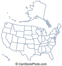 USA Map - Contour map of the USA. Source of map:...
