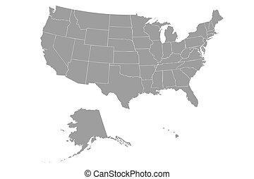 EPS Vector Of Outline USA Map With States Csp Search - Us map eps