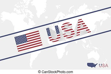 USA map flag and text illustration