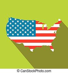 USA map flag flat icon