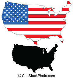 USA map flag on a white background. Vector illustrator.