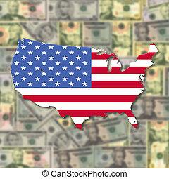 USA Map flag on blurred dollars