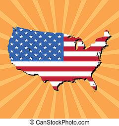 USA map flag on sunburst