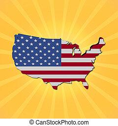 USA map flag on sunburst illustration
