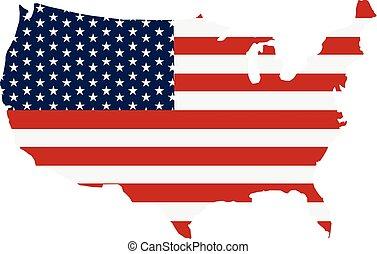 USA Map Flag Stripes and Stars Logo