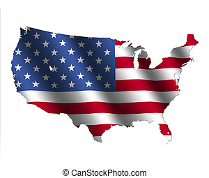 USA map flag - USA map with rippled flag on white ...