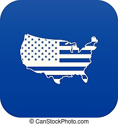 USA map icon digital blue