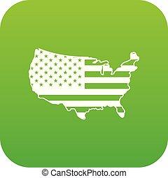USA map icon digital green