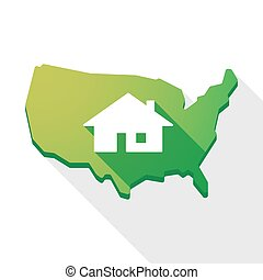 USA map icon with a house