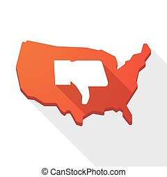 USA map icon with a thumb hand