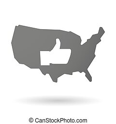 USA map icon with a thumb up hand