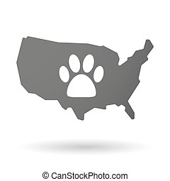 USA map icon with an animal footprint