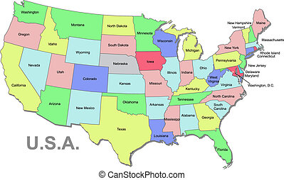 U.S.A map - Color U.S.A vector map with states over white
