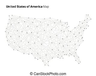 USA map in blockchain technology network style.