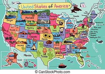 Cartoon map of usa. Travel to usa cartoon map. united states ...