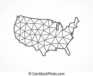 USA map in geometric style