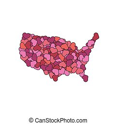 USA map made of hearts. America of love. World peace concept