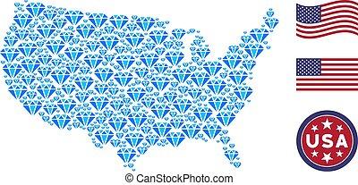 USA Map Mosaic of Diamond