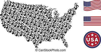USA Map Mosaic of Musical Note