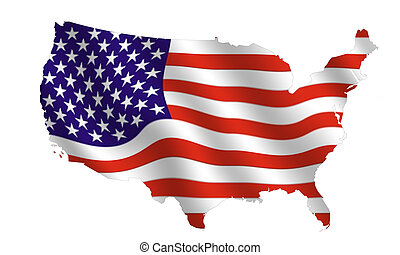 map of the USa, filled with its waving flag