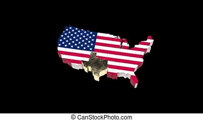 usa., map., politique, channel., état, vidéo, 66, texas., ...