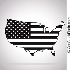 usa map simplified contoured with flag black and white vector