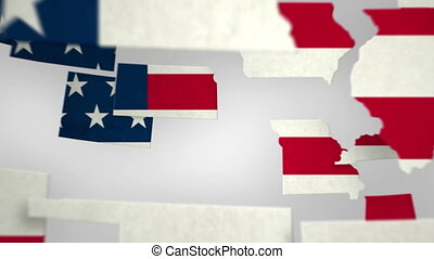 USA Map - States Combine - Lovely animated shot of the 48...