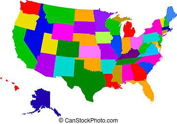 usa map - colorful map of usa