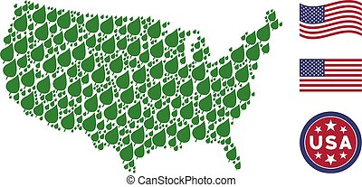 USA Map Stylized Composition of Plant Leaf